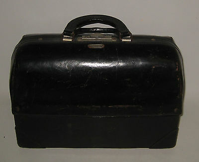 Antique Vintage Emdee Schell Doctor's Bag Black Leather Excellent Condition BE53
