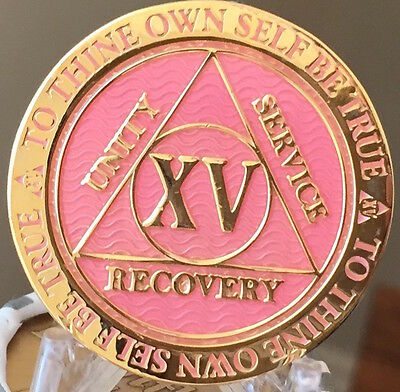 15 Year AA Medallion Pink Gold Plated Alcoholics Anonymous Sobriety Chip Coin