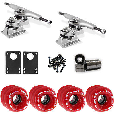 SHARK WHEELS Longboard Package 60mm RED GULLWING SIDEWINDER Trucks w/ Bearings