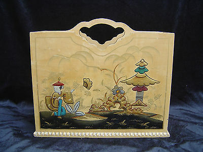 Vintage Chinoiserie / Japanned Wooden Magazine Rack