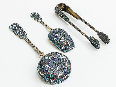 A Group of Russian Silver-Gilt And Cloisonné Enamel Tablewares