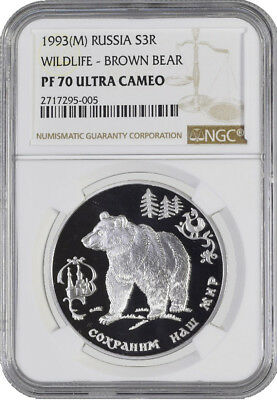 1993 (M) 3R Wildlife - Brown Bear 1 oz Silver Russia 3 Rouble NGC PF70 UC POP 1