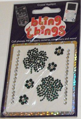 4 Leaf Clover Crystal Appliqué Cell Phone BLING THING iPhone Sticker iPod Decal