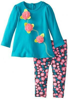 Kids Headquarters Infant Girls 2 Pcs Set Tunic Whit Floral Legging 18 Months