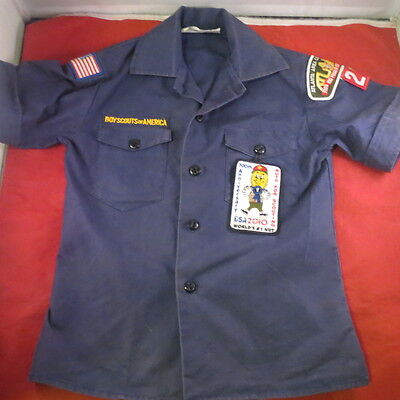 Boy Scouts Uniform Shirt BSA Size Small Youth Navy Blue w/Patches Short Sleeve
