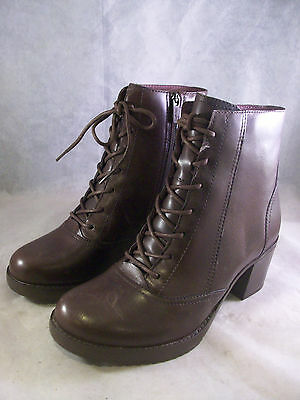 New Dansko Women's Ames Lace-Up Zipper Boots Brown Leather 38 8 Medium $195