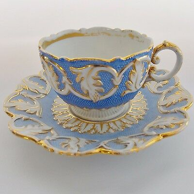 Gorgeous Antique Meissen Cup And Saucer Powder Blue White Embossed Lavish Gold