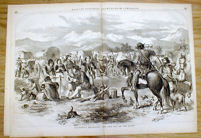 1856 illustrated newspaper engraving CALIFORNIA GOLD RUSH Wagon Train on plains