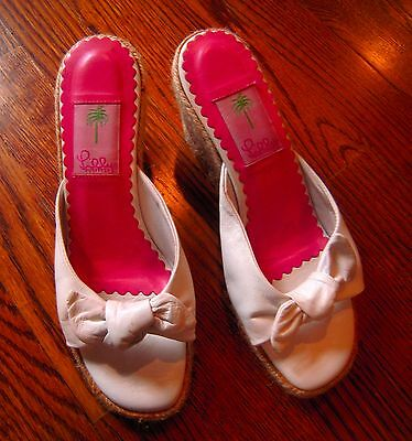 Lilly Pulitzer White Leather w/ Bow  Wedge Sandals Shoes , size 7M
