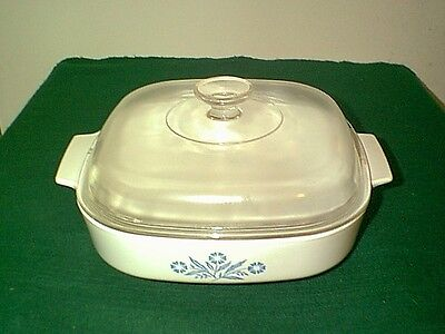 """Vintage Corning Ware Blue Cornflower 10"""" Sq Casserole Dish With Domed Lid A-10-B"""