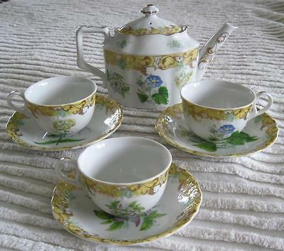 Andrea By Sadek English Garden Teapot with 3 Matching Cups and Saucers