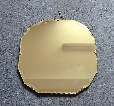 Vintage Deco Mirror - Bevelled Edge - Square Wall Mirror - 40's - Frameless -