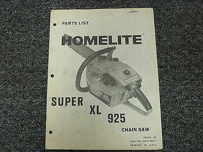 HOMELITE XL 12 & Xl 12W Chain Saw Models Xl-12 & Xl-12W Parts Manual
