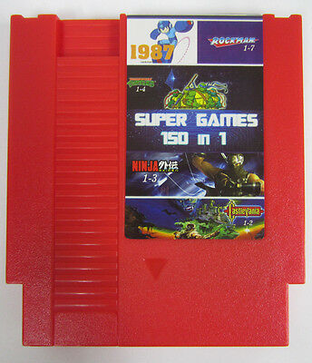 Super Games 150 in 1 (Nintendo Entertainment System) Red NES Video Game Cart