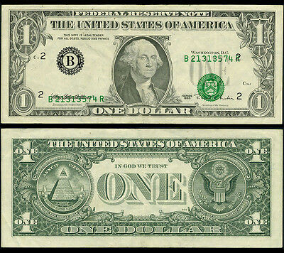 FR. 1921 B $1 1995 Federal Reserve Note New York Shifted 3rd Printing Very Fine+