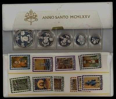 Vatican City 1975 Silver Medal and Postage Stamp Set .800 Fine