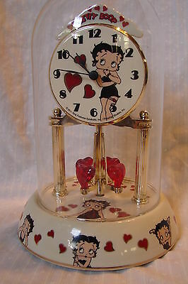 Betty Boop Porcelain Anniversary Clock with Spinning Hearts Under Glass Dome