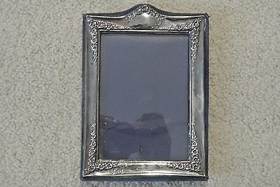 Vintage DR&S London Sterling Silver Repousse Flower Standing Picture Frame