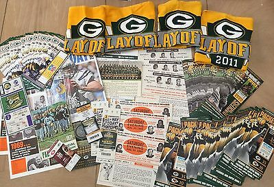 GREEN BAY PACKERS MEMORABILIA LOT MASSIVE - PROGRAM TICKETS TOWELS 1960s-2000s