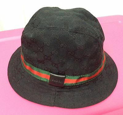 Gucci Black Signature Logo Bucket Hat With Leather Detail Size Xl - Pre-Owned