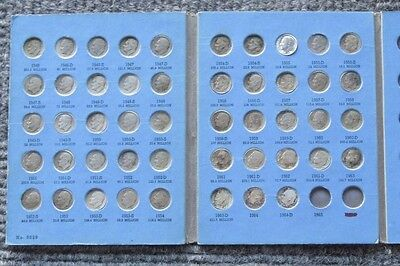 1946 - 1964 Roosevelt Dime Complete Set Circulated 48 Silver Coins Whitman Fold
