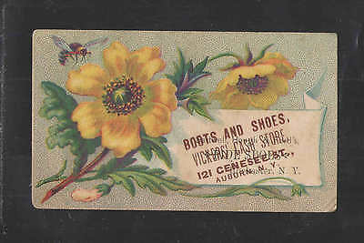 1880s VICKERS CASH STORE BOOTS SHOES AUBURN NY + ROCHESTER VICTORIAN TRADE CARD