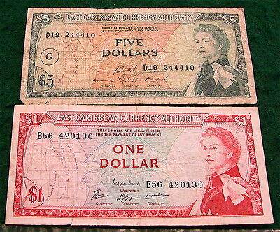 East Caribbean Currency Notes---2 Notes---$5 and $1,,both Circulated