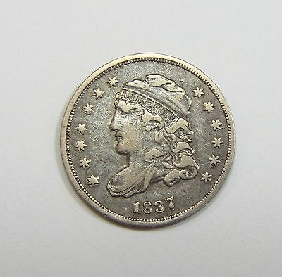 1837 Capped Bust Silver Half Dime VERY FINE 5c