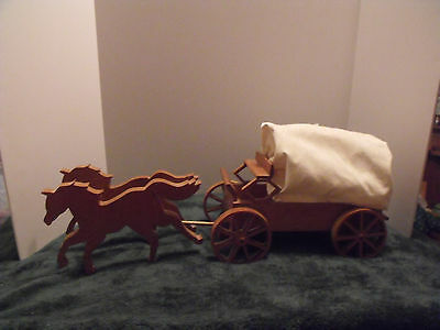 Handmade Wooden Covered Wagon And Horses~$10.95 & Nr~Plz. Look~