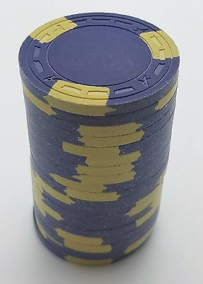 """Set of 20 ASM Casino Style """"A"""" Mold Clay Chips Purple/Yellow Inserts FREE SHIP"""