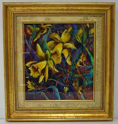 "Katheleen Field Original Botanical Pastel ""Two Daffodils"" Signed and Framed"