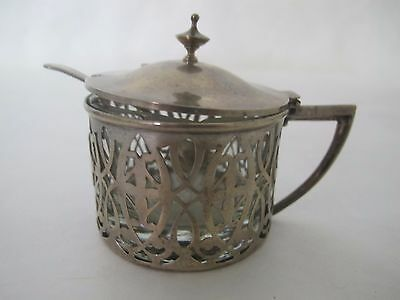 Wonderful Sterling Mustard With Glass Insert