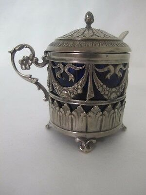 Fantastic French Napolian Era Silver Large Pot W/ Cobalt Blue Insert Marked 800