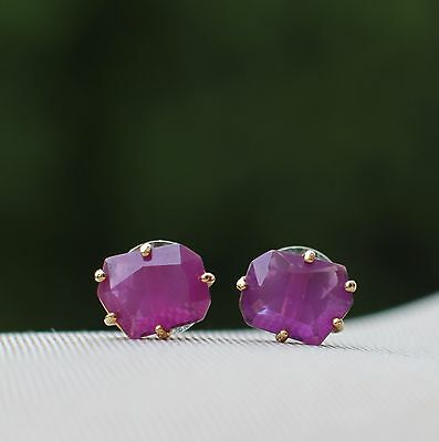 Kate Spade Rare Set In Stone Amethyst Purple Bridal Faceted Earrings Studs