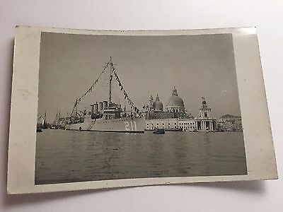 WWI Era RPPC USS Alden #211 Destroyer Ship Fully Dressed in Grand Canal Venice