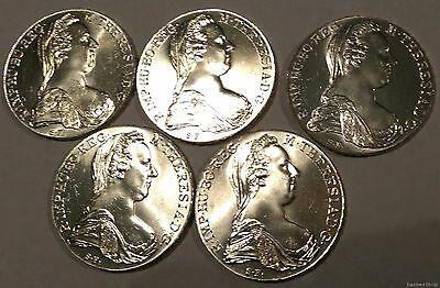 (Lot of 5) UNC 1780 Austrian Maria Theresa silver Taler Re-strikes
