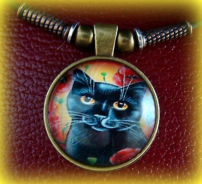 Black CAT KITTEN KITTY Jewelry PENDANT NECKLACE - Beadwork