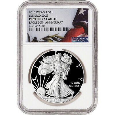 2016-W American Silver Eagle Proof - NGC PF69 UCAM - Flag Label