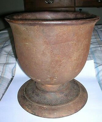 """Antique Cast Iron Large Footed Mortar - 8.5"""" Tall"""