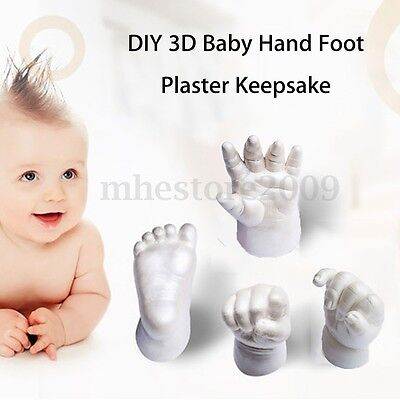 Keepsake Gift 3D Plaster Handprint Footprint Baby Kid Hand&Foot Casting Mini Kit