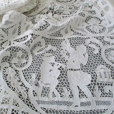 "Antique POINT de VENISE Needle LACE Tablecloth 110"" X 62"" FIGURAL Urns FLOWERS +"