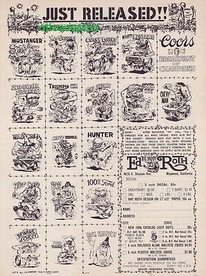 1965 Ed Roth - Big Daddy Roth - Roth Just Released Decals ad