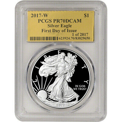 2017-W American Silver Eagle Proof - PCGS PR70 DCAM - First Day Issue Gold Foil