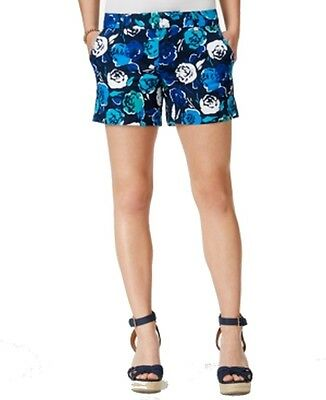 Tommy Hilfiger NEW Blue Women's Size 10 Floral Printed Front-Tab Shorts $49 #875