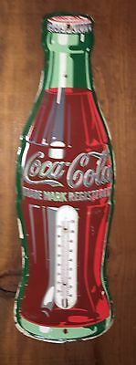 """Original COCA COLA 1950s Flat Front BOTTLE THERMOMETER 17"""" Great Shape"""