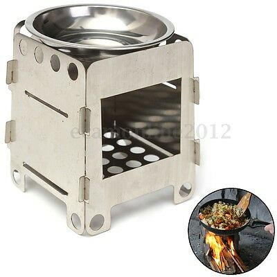 Portable Stainless Steel Folding Wood Pocket Alcohol Stove Outdoor Cooking BBQ