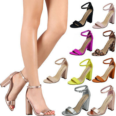 Women Classic Open Toe Ankle Strap Pump Sandal Block Chunky High Heel