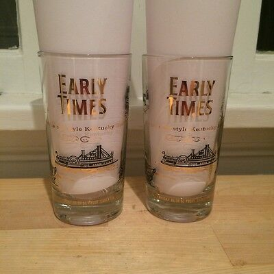 Set of Two Early Times Kentucky Bourbon Whisky MCM Midcentury Highball Glasses