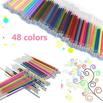 Set 48 Colors Gel Pens Glitter Coloring Drawing Painting Craft Marker Stationery