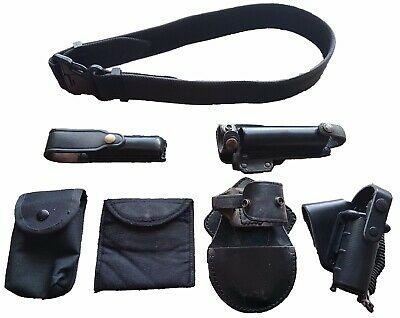 Ex Police Genuine British Black Nylon Duty Belt Kit With 6 Pouches Sizes S - XL